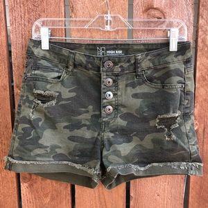 HIgh Rose Waist Distressed Camo Denim Shorts - 11